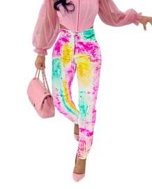 Стильные джинсы с завышенной талией и краской