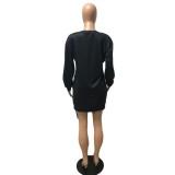 Autumn Print Black Side Slit Zipper Shirt Dress