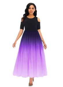 Длинное платье с градиентом и короткими рукавами с вырезом на плече
