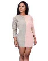 Contrast Color O-Neck Mini Club Dress