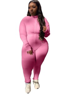 Bodycon Jumpsuit in Übergröße mit festem Reißverschluss