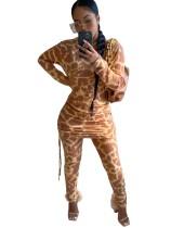 Herbst Leopardenmuster Strings Shirt und Hosen Set