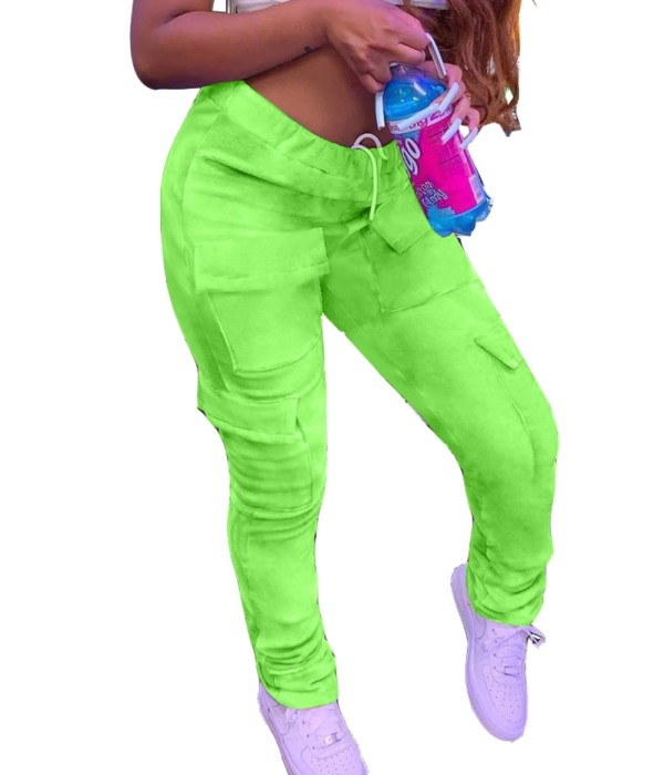 Africa Casual Solid Plain Pocket Pants