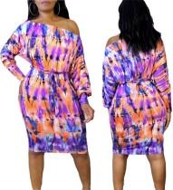 Herbst Tie Dye Midi Kleid mit Gürtel