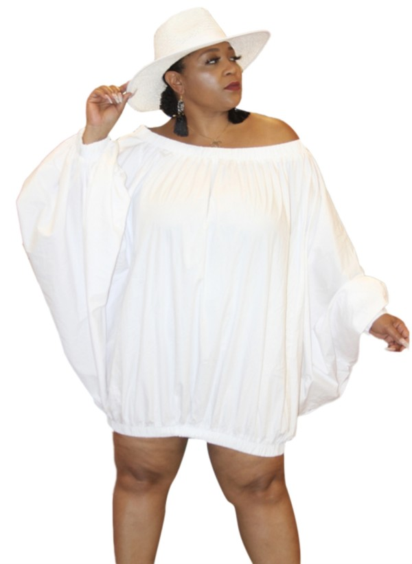Plus Size Solid Plain Off Schulterloses Kleid