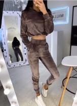 Sudadera con capucha de terciopelo con top corto liso liso y pantalones