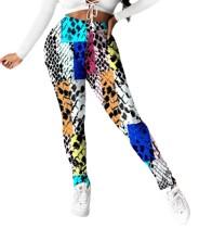 Sexy hoge taille kleurrijke strakke broek