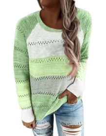Kontrastfarbe Aushöhlter Pullover mit rundem Halsausschnitt