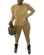 Autumn Solid Plain Loose Shirt und Tight Pants Set