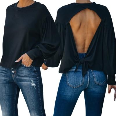 Chemise noire à manches longues et dos découpé d'automne