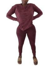Autumn Solid Plain Loose Shirt and Tight Pants Set