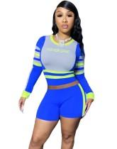 Sport Fitness Kontrast Farbe Crop Top und Shorts Set