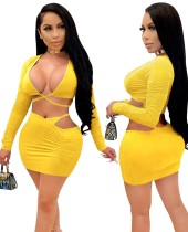 Party Sexy Solid Color Wrapped Crop Top and Mini Skirt Set