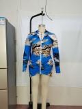 Plus Size Tie Dye Blue Reißverschluss Bodycon Kleid mit vollen Ärmeln