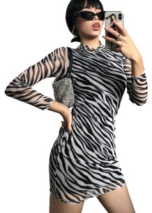 Zebradruck Sexy Langarm Mini Club Kleid