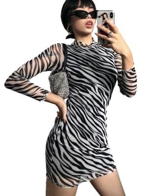 Mini robe club sexy à manches longues et imprimé zèbre
