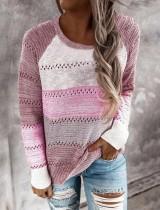 Suéter con cuello redondo ahuecado en contraste de color