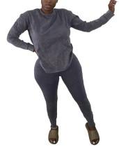 Sonbahar Katı Düz Gevşek Gömlek ve Sıkı Pantolon Seti