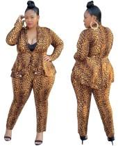 Plus Size Leopardenmuster Top und Hosenanzug