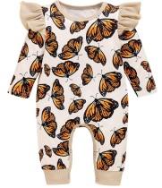 Macacão de outono com estampa de borboleta para bebês