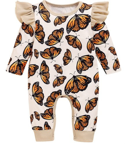 Mono de mamelucos de otoño con estampado de mariposa para bebé niña