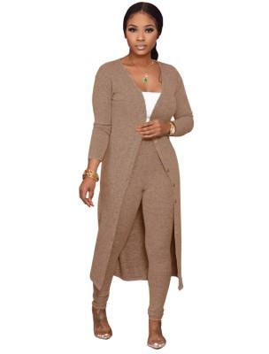 Conjunto de pantalones ajustados lisos lisos de otoño y cárdigans largos