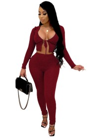 Party Pain Sexy Knotted Crop Top and High Waist Legging Set
