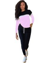 Camicia casual in colore a contrasto autunnale e set di pantaloni semplici