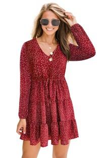 Pop Kollu Sonbahar Sevimli Baskı V Yaka A-Line Elbise
