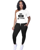 Weißer und schwarzer Druck One Shoulder Shirt und Hosen Set