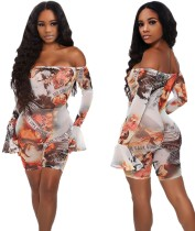 Party Sexy Off Shoulder Print Bodycon Rompers