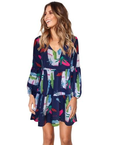 Осеннее платье в горошек с V-образным вырезом и высокой талией с оборками