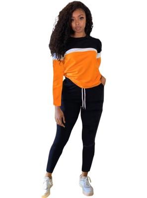 Conjunto de camisa casual outono contrastantes e calças simples