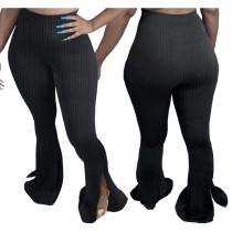 Pantalon taille haute uni ajusté et évasé à taille haute