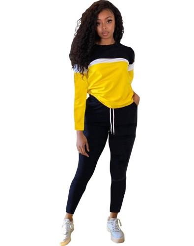 Осенняя повседневная рубашка контрастного цвета и простые брюки