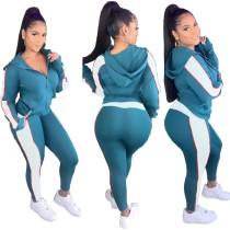 Herbstlicher Kontrastfarbe Hoody Trainingsanzug