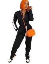 Herbstliche Kontrastfarbe Crop Top und Hosen Reißverschluss Trainingsanzug