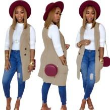 Jaqueta de bolso lisa sem mangas outono