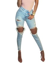 Stylish Cut Out High Waist Slim Jeans