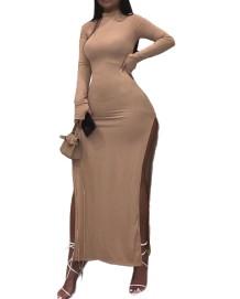 Осеннее однотонное однотонное длинное платье с длинным рукавом и разрезом