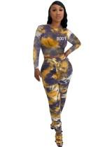 Conjunto de pantalón y top corto con efecto tie dye de dos piezas a juego de otoño