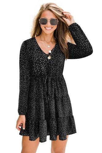 Осеннее милое платье трапециевидной формы с V-образным вырезом и рукавами