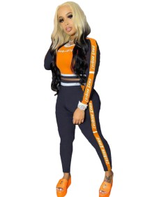 Autumn Matching Two Piece Contrast Print Tight Crop Top and Pants Set