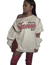 Herbstdruck Street Style Reißverschluss Shirt Kleid