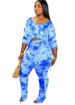 Autumn Tie Dye Blue Shirt und Rüschen Hosen Set