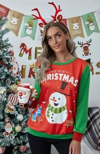 Noel Baskı Kontrast Yuvarlak Yaka Kadın Gömlek