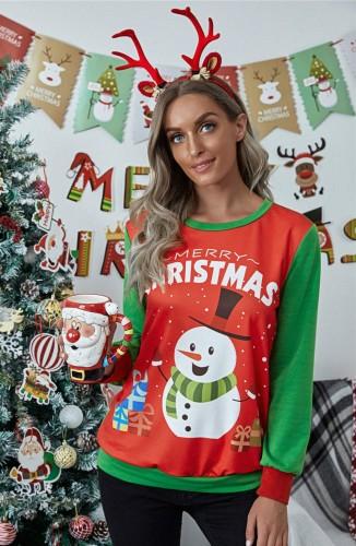 Контрастная женская рубашка с круглым вырезом и рождественским принтом