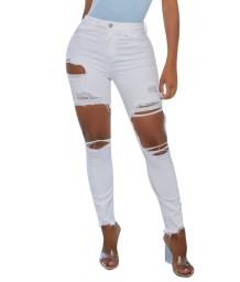 Стильные узкие джинсы с высокой талией и вырезом