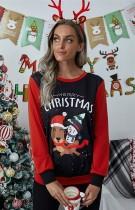 Weihnachtsdruck Kontrast Kontrast Rundhals Frauen Shirt