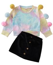 Set herfstkleuren shirt en minirok voor meisjes